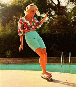 70's skateboarder Ellen-Oneill on the pool side