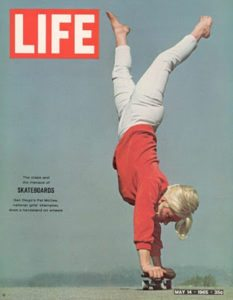 Ellen o neill deason doing a handplant trick in skateboard in cover of Life magazine in the 70's