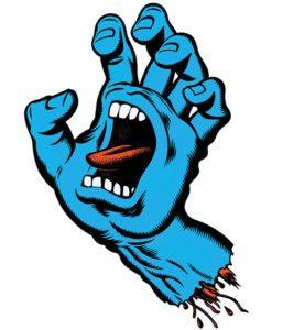 santa cruz skateboard screaming hand design by jim phillips