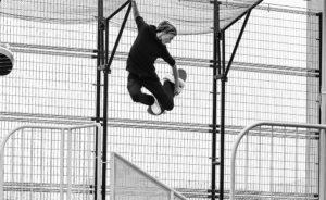 Curren Caples grab air in black & white