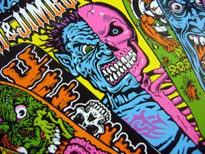 Jim & jumbo Phillips artwork santa cruz skate board