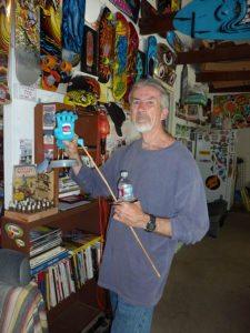 artist Jim phillips Santa cruz skateboards in his workshop