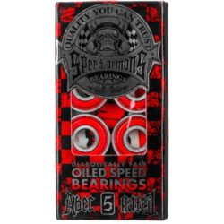 Jeu de 8 roulements de skate SPEED DEMON ABEC 5 Couleur ROUGE translucide