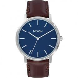 Montre Nixon Porter Marron/Bleu bracelet en cuir