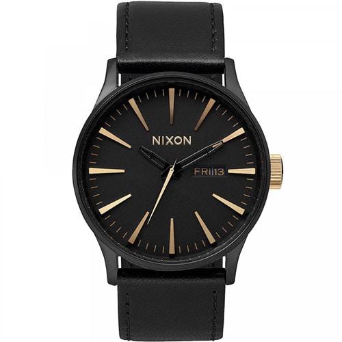 Montre pour hommes Nixon Sentry Leather Noir