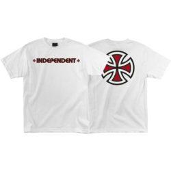 "T-shirt Independent ""Bar Cross"" blanc recto verso"