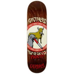 Antihero  8.62″ Year of The Pigeon Cardiel Deck - A close up of a bottle - Anti Hero