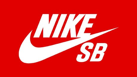 Logo Nike SB blanc sur fond rouge