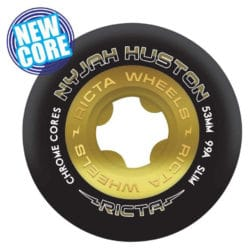 Ricta Wheels Nyjah Huston Chrome Core , dureté 99a et taille 53mm Noir / Or
