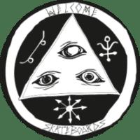 logo welcome skateboards noir et blanc