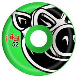 """Jeu de 4 Roues de skateboard Pig Wheels """"3D Conical"""" taille 52 mm, dureté 101a et de couleur vert"""