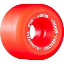 Roues de skateboard Bones Wheels O.G. Formula Pizzanista Delivery rouge 60 mm. Dureté 90a
