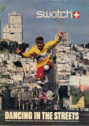 Rodney Mullen skateboard Swatch ads 80's