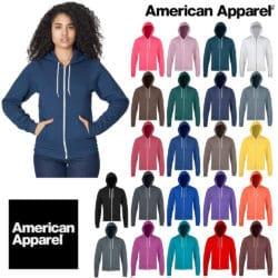 Vestes à Capuche American Apparel zippée unisexe disponibles en plusieurs couleurs