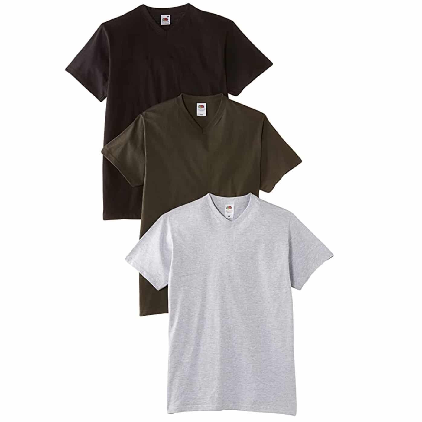 Pack de 3 T-shirts Fruit of The Loom V Neck charcoal gris noir pour homme