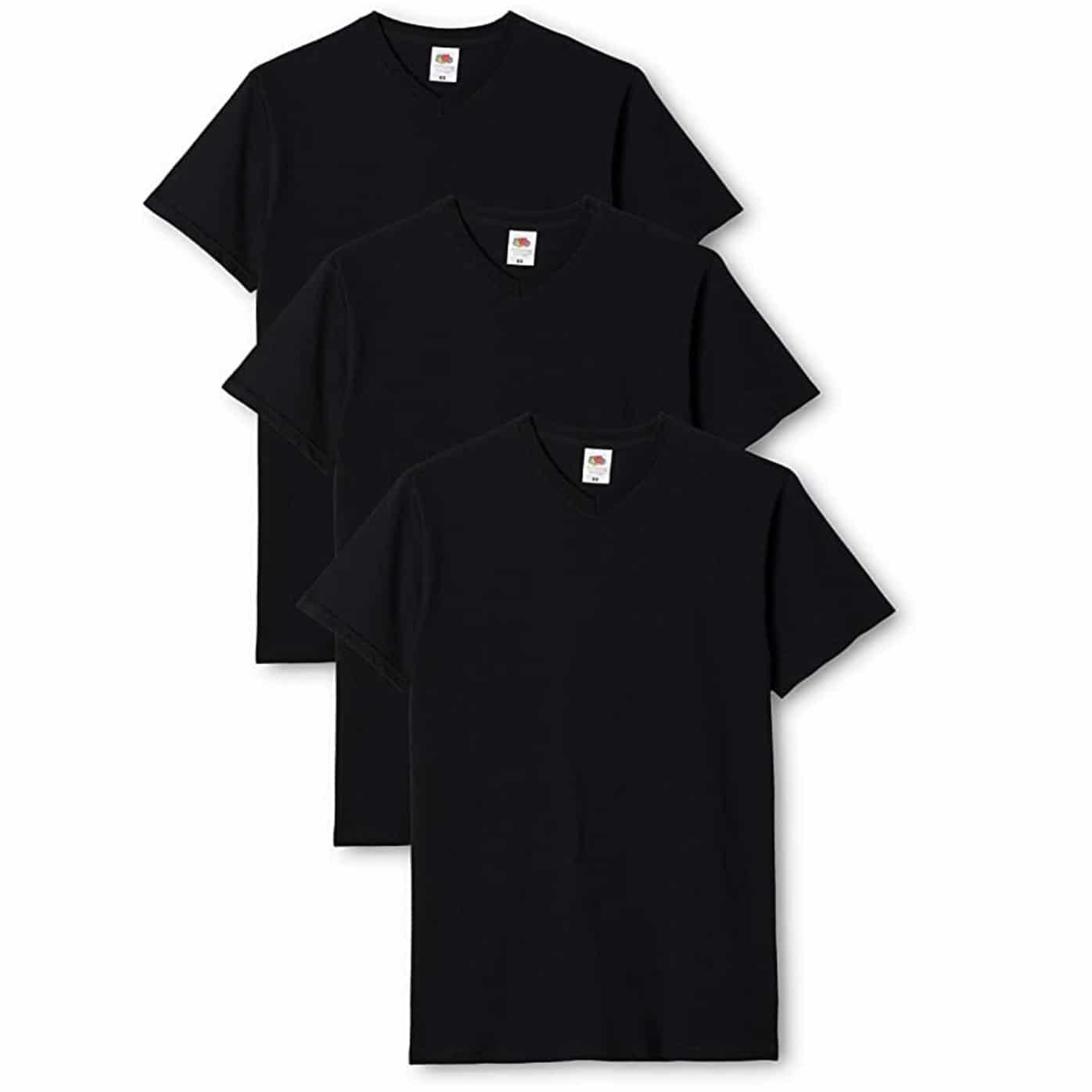 Pack de 3 T-shirts Fruit of The Loom V Neck blanc gris noir pour homme