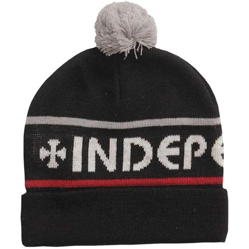 Bonnet pompon Independent Indy Strip noir