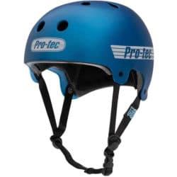 Casque de Skateboard adulte haute qualité Pro Tec Helmet Old School en couleur bleu métallisé