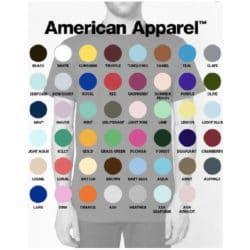 T-shirt unisexe à manches courtes American Apparel coupe standard 100% coton disponible en multiples couleurs.