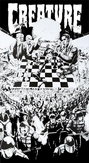 creature skateboards checkerboard illustration