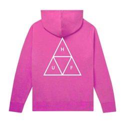 Sweat à capuche HUF Essentials Triple Triangle rose (Hot Pink) verso