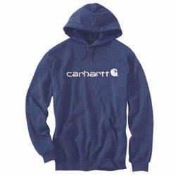 Sweatshirt Capuche Carhartt Signature Logo Midweight Bleu foncé chiné