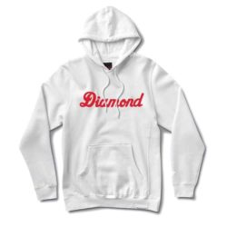 Sweatshirt à capuche Diamond Supply Co. Script Hoodie blanc