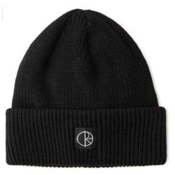 Bonnet Polar Skate Co double pli en laine mérinos Noir