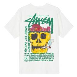 T-shirt mode de luxe Stüssy Smokin' Skull Pig Dyed Tee blanc