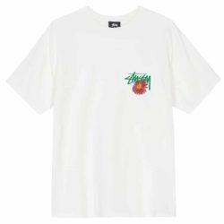 T-shirt mode de luxe Stüssy Smokin' Skull Pig Dyed Tee blanc front