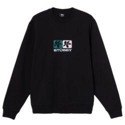 Sweat-shirt crew Stussy Black 2 Flower noir (118395BLACK)