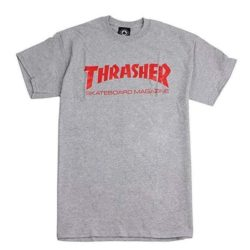 T-shirt Thrasher gris chiné et logo rouge