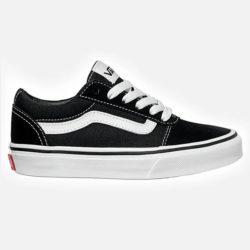 Chaussures Vans Ward noires et blanches (Black White) en daim et toile pour enfant