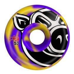 Roues Pig Head Swirls Violet / Jaune 53 mm / 101a