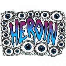 heroin skateboard logo eyes