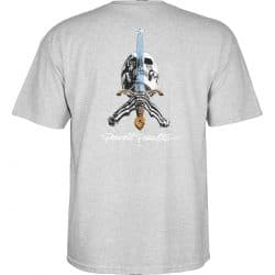 T-shirt Powell Peralta Skull And Sword gris back