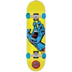 Skateboard complet Santa Cruz Screaming Hand (main bleue) jaune 7.75