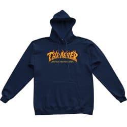 Sweat à capuche Thrasher Fire Logo bleu marine