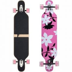 Longboard complet Funtomia Drop Through rose / fleur